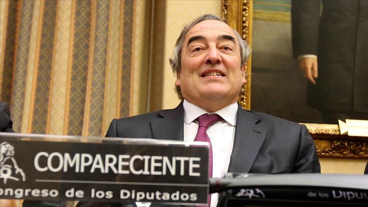 Juan Rosell, presidente de la CEOE, en una comparecencia en el Congreso