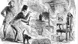 Ilustración de Phiz para  la novela de Charles Dickens,  'Casa desolada'  (1852),  en la que dos personajes encuentran al trapero Krook calcinado por combustión espontánea.