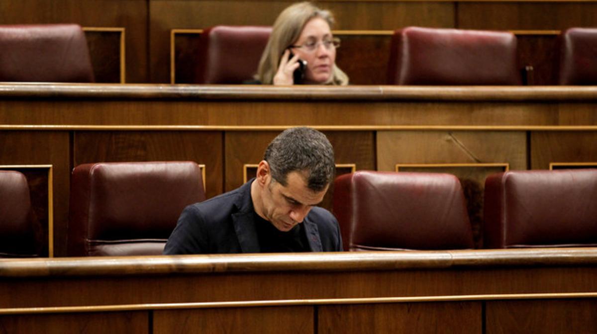 Toni Cantó durante una sesión de control al Gobierno en el Congreso de los Diputados