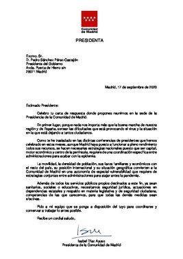 Carta de Isabel Díaz Ayuso a Pedro Sánchez para abordar conjuntamente la crisis sanitaria del covid-19, este 17 de septiembre de 2020.