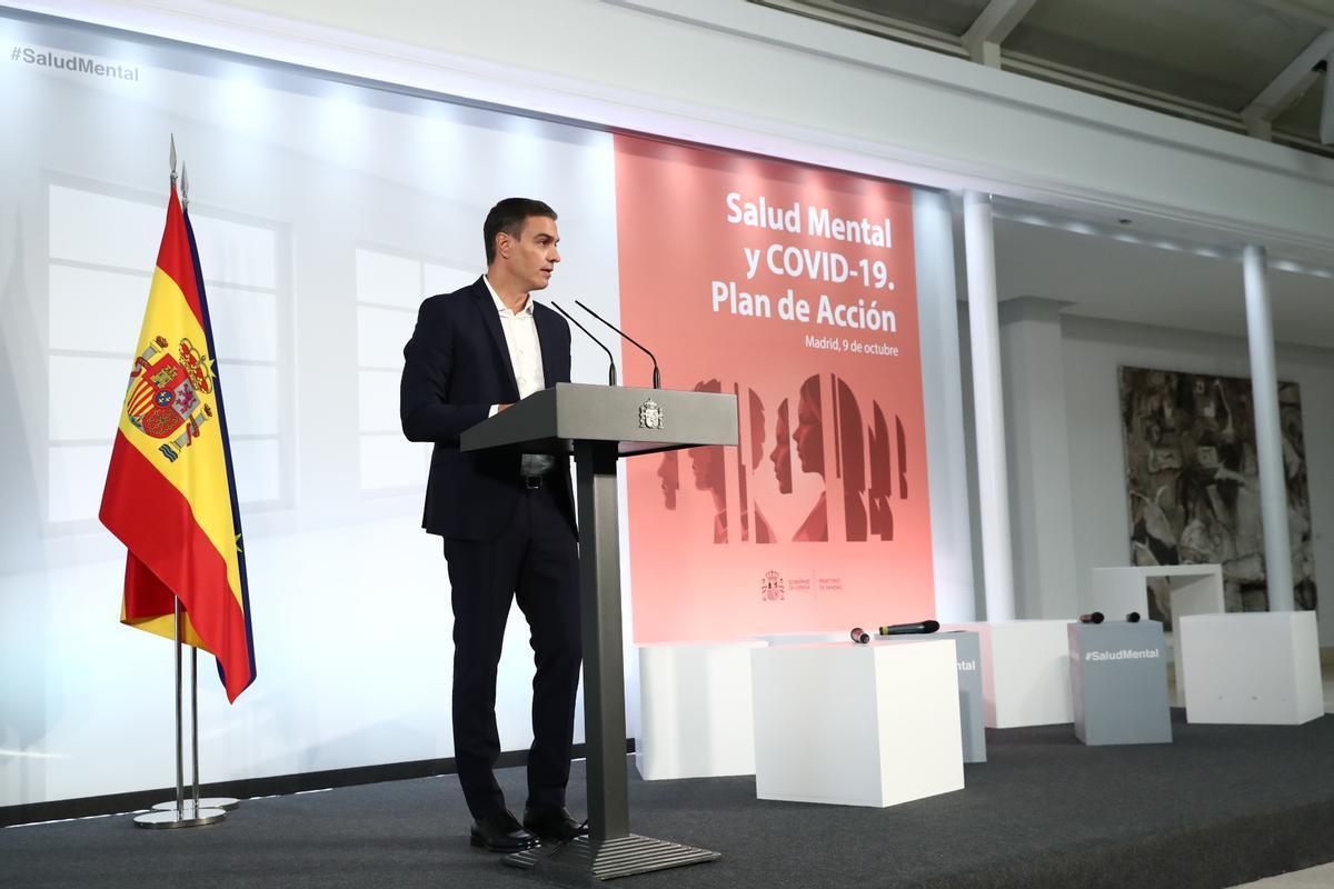El presidente del Gobierno, Pedro Sánchez, en la presentación del Plan de Acción de Salud Mental 2021-2024