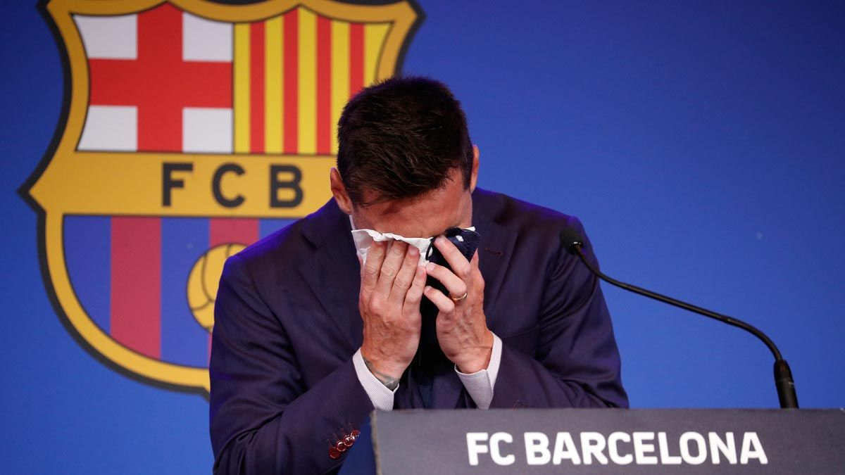 Messi se despide llorando del Barça.
