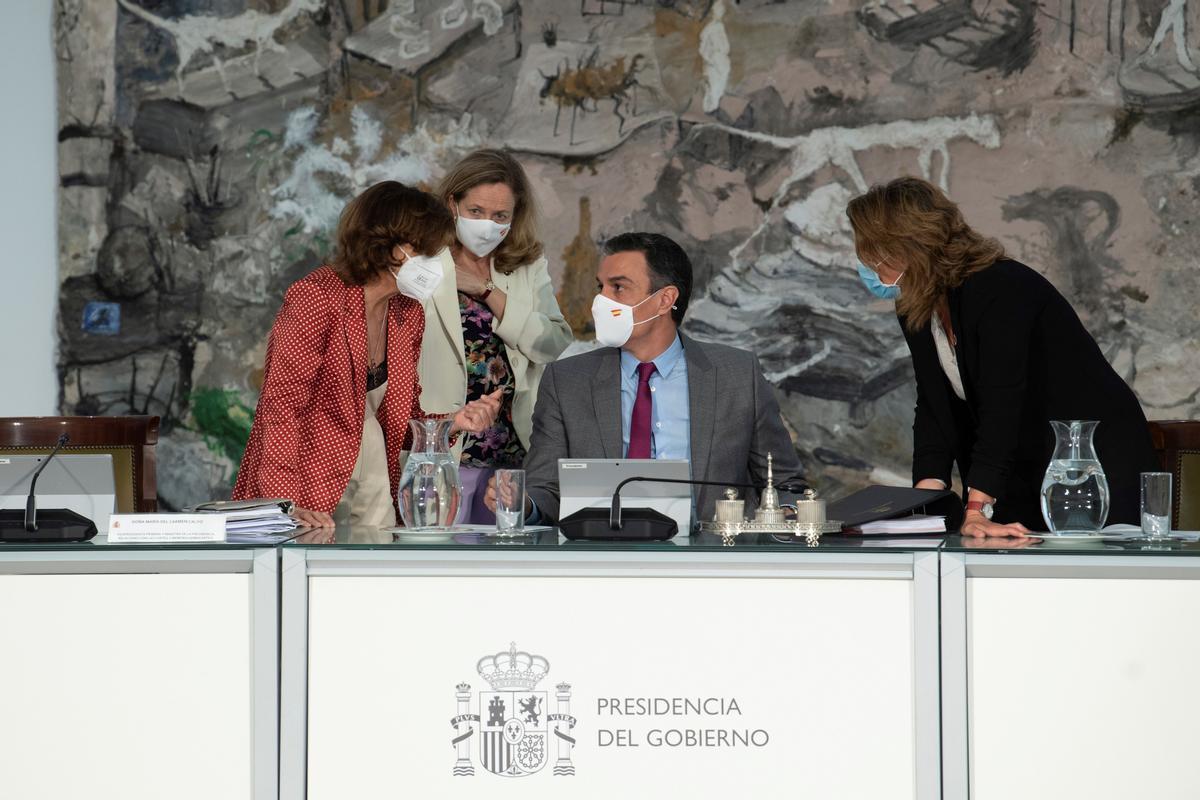 Pedro Sánchez, durante el Consejo de Ministros que ha aprobado los indultos del 'procés'.