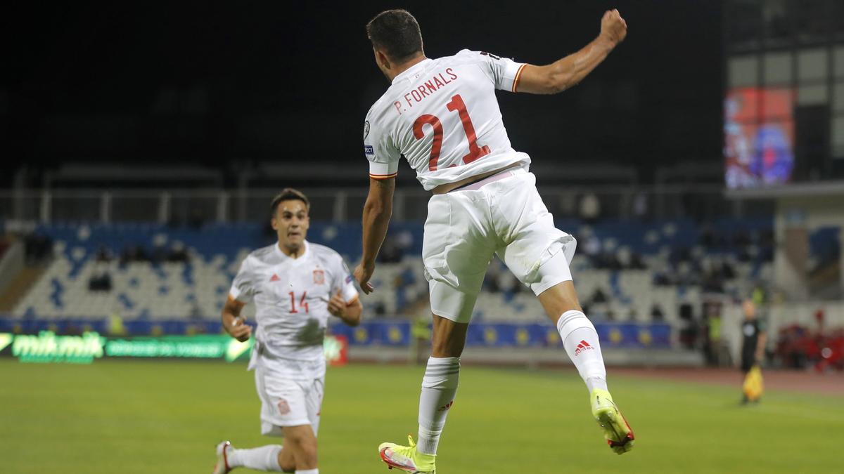 Fornals celebra su gol ante Kosovo.