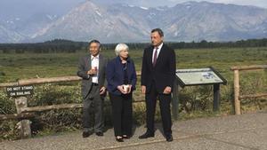 Janet Yellen (Reserva Federal), Mario Draghi(BCE) y Haruhiko Kuroda (Banco de Japón),en el reciente encuentro de Jackson Hole.