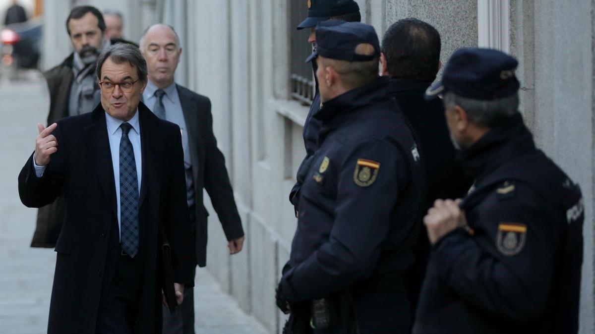 Artur Mas a su llegada al Tribunal Supremo.