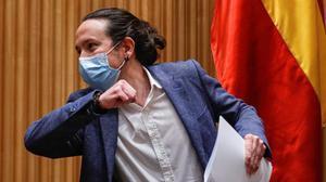 El vicepresidente segundo, Pablo Iglesias, en el Congreso de los Diputados