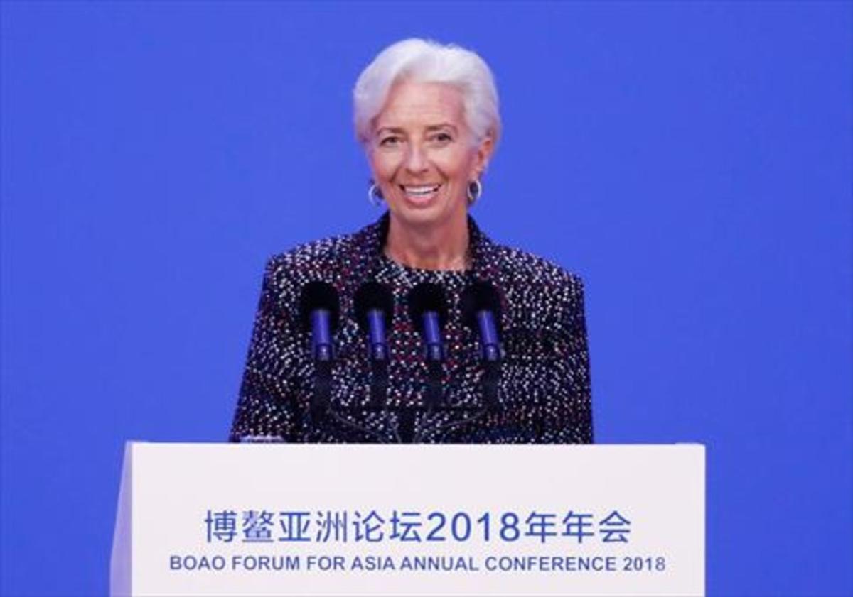 La directora del FMI, Christine Lagarde, en la conferencia anual del Foro de Boao para Asia, ayer.