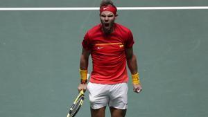 Rafa Nadal celebra un punto en la eliminatoria ante Argentina en la Copa Davis.