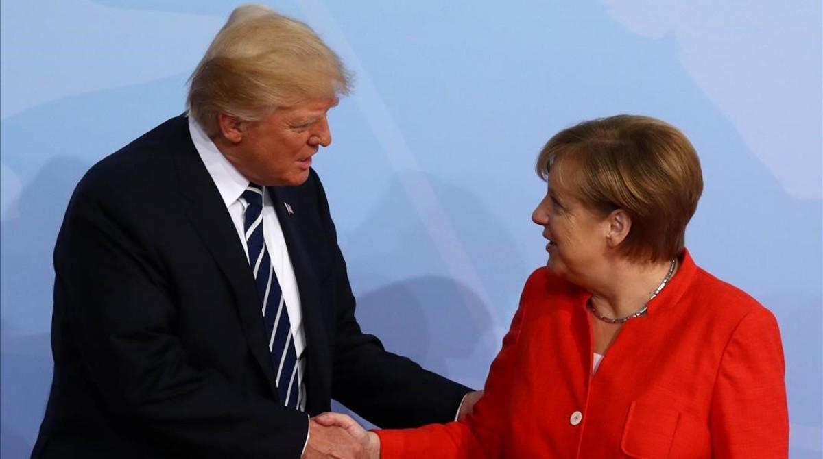 El presidente Donald Turmp junto a la cancillera Angela Merkel.