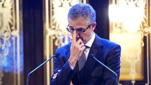 El gobernador del Banco de España Pablo Hernandez de Cos durante la entrega del premio Carlos Humanes de periodismo económico.