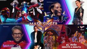Imágenes de Cristina Pedroche y Máximo Huerta durante su paso por 'Mask Singer: Adivina quién canta' como Robot y Gamba.