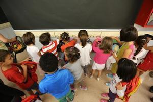 Alumnos de educación infantil, en un colegio de Barcelona.