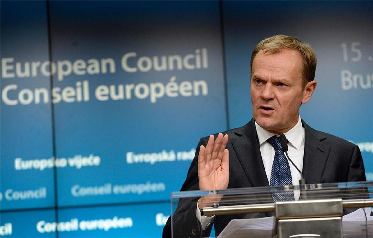 Tusk, en la rueda de prensa posterior a una reunión de los Veintiocho, en Bruselas.