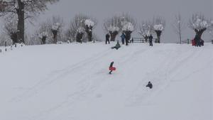 Varias familias se divierten en la nieve acumulada en Roncesvalles, Navarra.