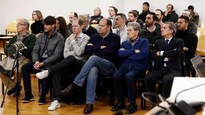 Los once acusados, en la primera jornada del juicio el pasado mes de enero.
