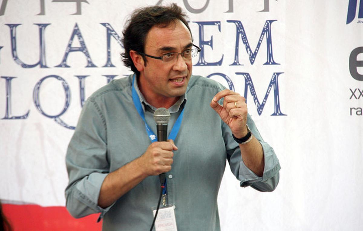 El secretario de organización de CDC Josep Rull, este domingo, en Sant Esteve de Palautordera.