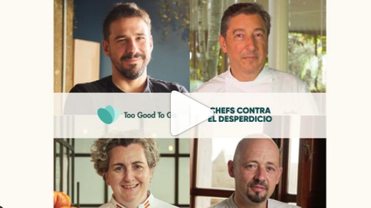 Los cuatro cocineros que participan en la campaña 'Chefs contra el desperdicio', de Too Good To Go: arriba, Javi Estévez y Joan Roca; sobre estas líneas, Pepa Muñoz e Iñaki Bretal.