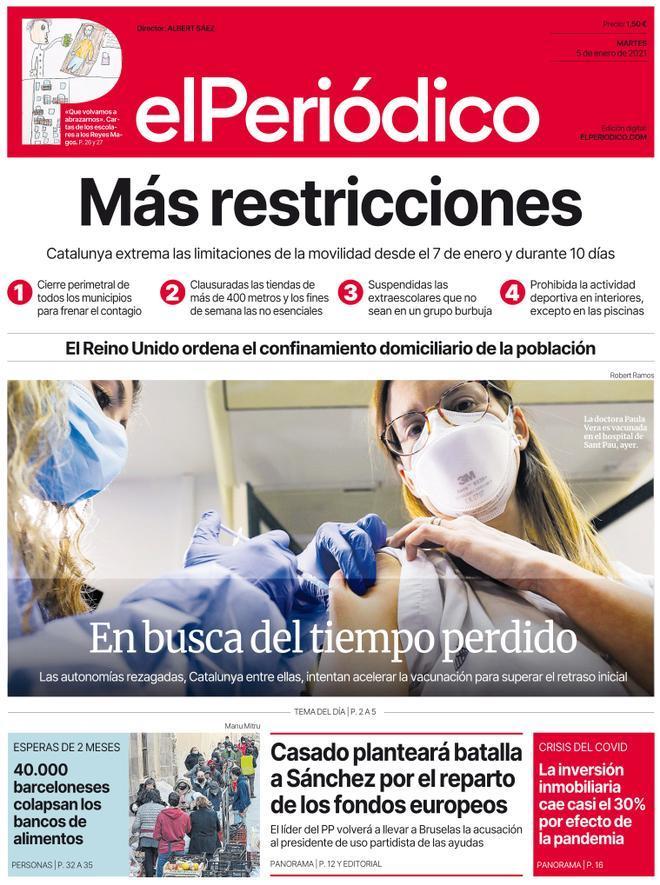 La portada de EL PERIÓDICO del 5 de enero del 2021.
