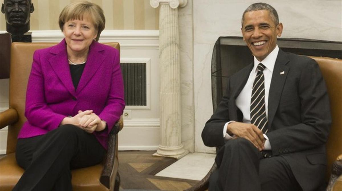 Merkel, con el presidente Barack Obama en la Casa Blanca, el 9 de febrero.
