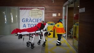 Traslado de un enfermo al Hospital de Bellvitge, la mañana del 3 de enero.
