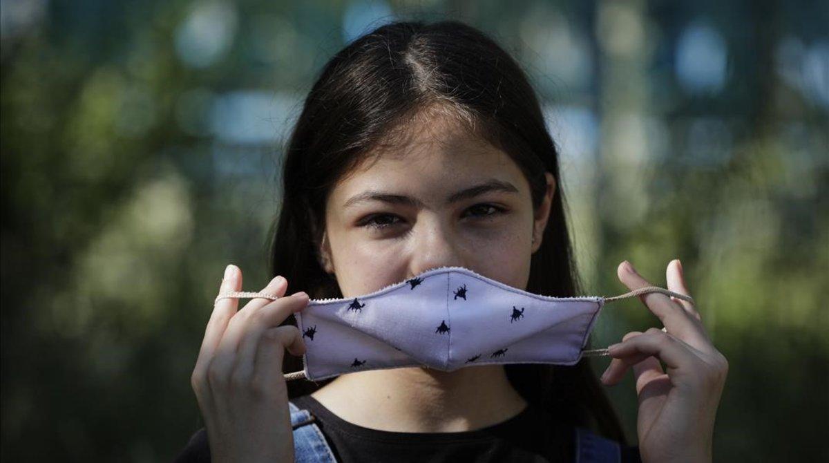 Anuncio del uso de mascarilla en menores, el pasado mayo.