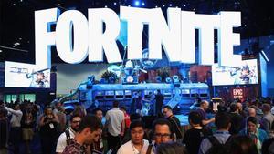 Uno de los estands de la feria E3 de Los Angeles con el juegoFortnite.