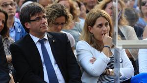 Puigdemont y Pascal, en un acto independentista en julio del 2017.