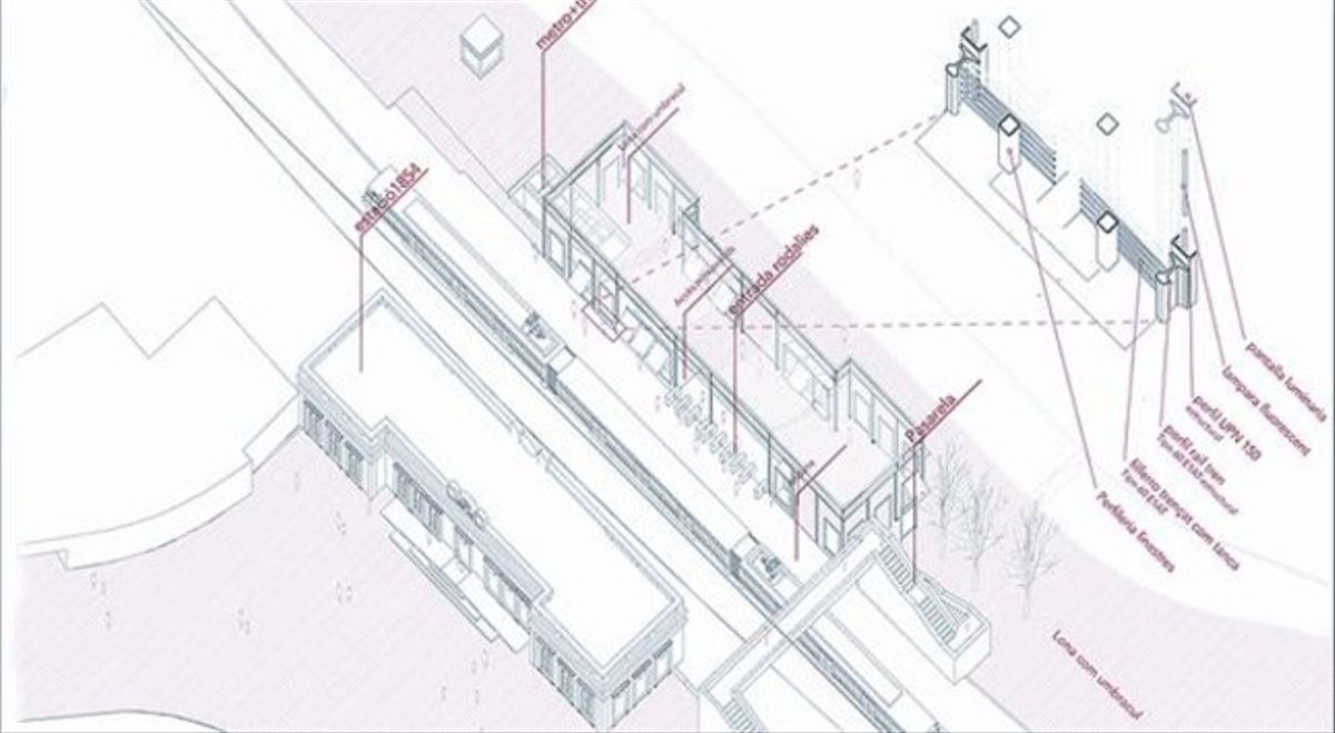 'SIMETRIA A LA VIA'. El proyecto de Jon Ander Agirre propone acabar con la asimetría de la estación y construir una interpretación del edificio de 1854 al otro lado de las vías.