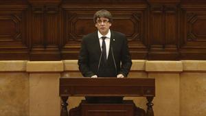 Puigdemont, durante su comparecencia en el Parlament el10 de octubre del 2017.