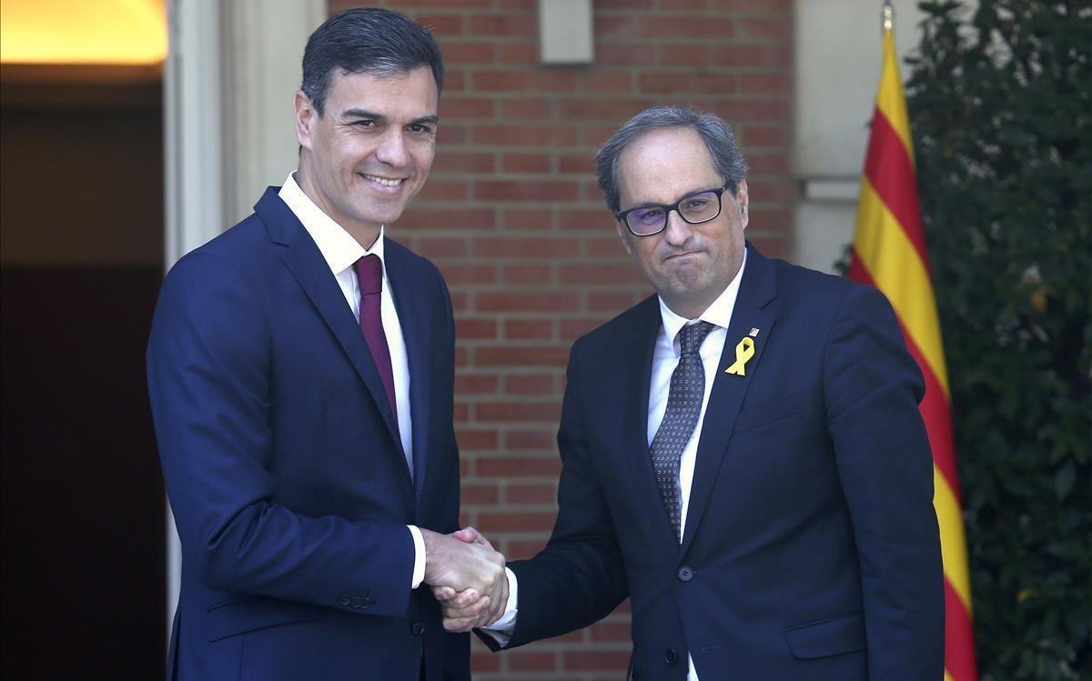 Reunión entre Pedro Sánchez y Quim Torra en la Moncloa, el 9 de julio del 2018.