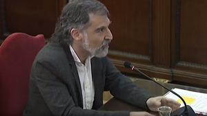 Jordi Cuixart, durante su declaración en el juicio del 'procés'.