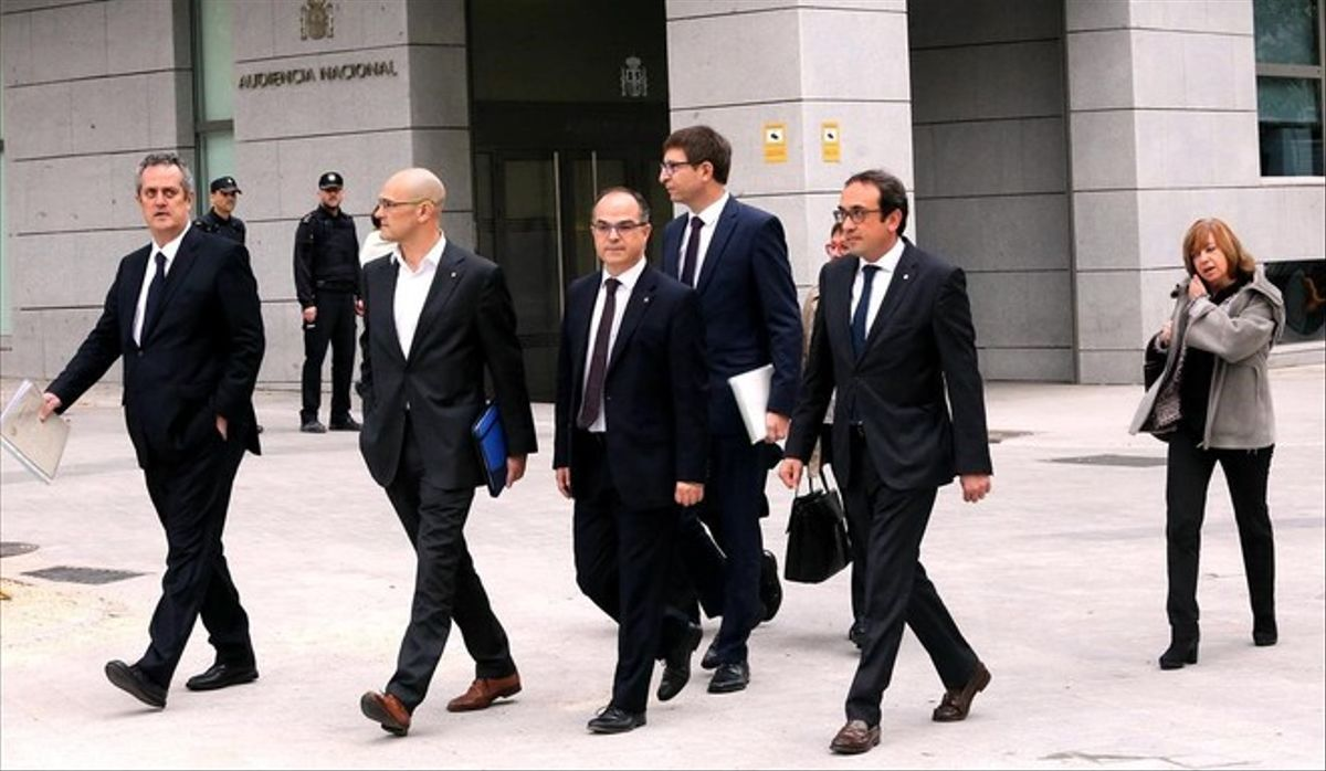 Joaquim Forn, Raül Romeva, Jordi Turull y Josep Rull, en la Audiencia Nacional.