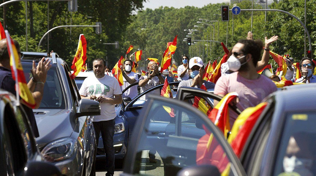 Aspecto de la manifestación convocada por Vox para protestar por la gestión de la pandemia por parte del Gobierno, el pasado 23 de mayo en Madrid.
