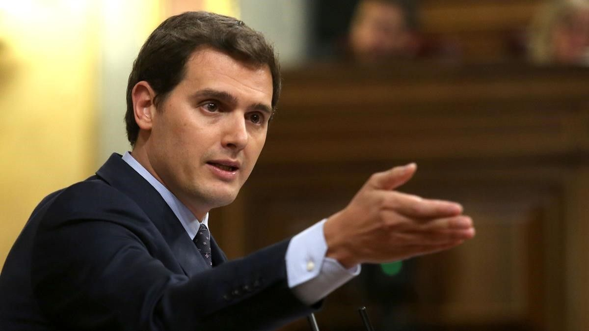 El líder de Cs, Albert Rivera, en el pleno de la moción de censura encabezada por Pedro Sánchez.
