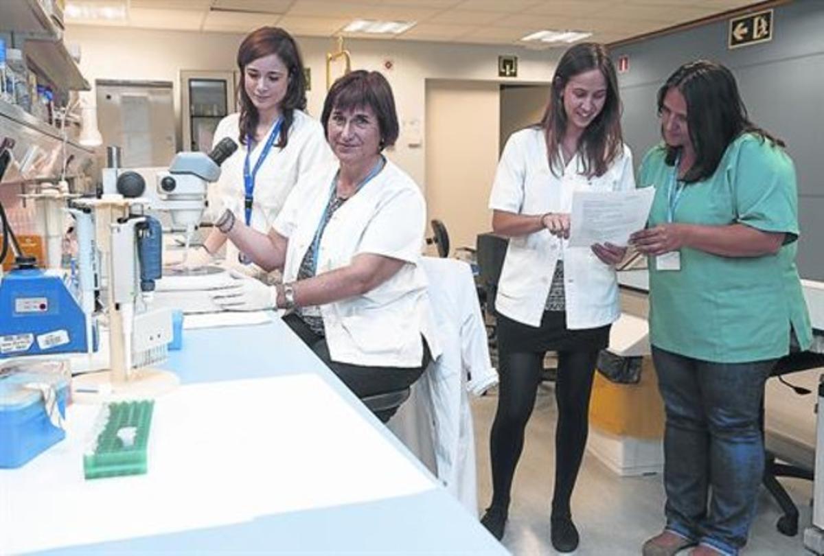 Silvia Rodríguez (primera a la izquierda), Marta Vives, Irma Pujol y Rosa Ampudia, investigadoras sobre inmunología en diabetes, en Can Ruti.