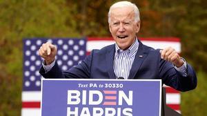 El candidato demócrata a la presidencia de EEUU, Joe Biden, en un mitin enBristol, Pensilvania, este sábado.