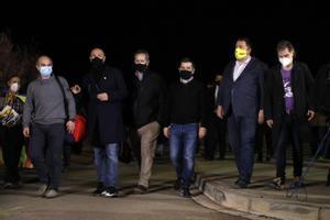 Algunos de los dirigentes del 1-O que pueden ser indultados por el Gobierno de Pedro Sánchez, en una foto del 9 de marzo a la llegada a la cárcel.