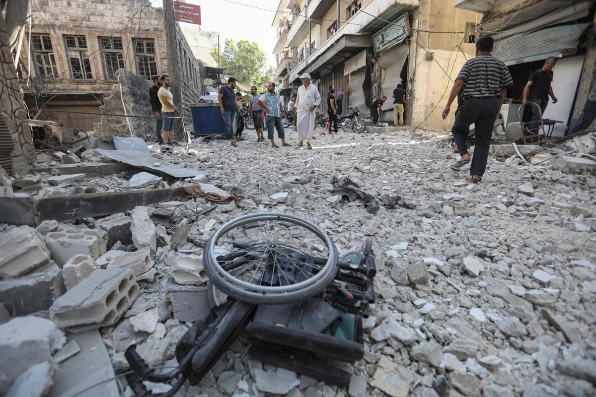 Edificios destruidos por los ataques aéreosen Siria.