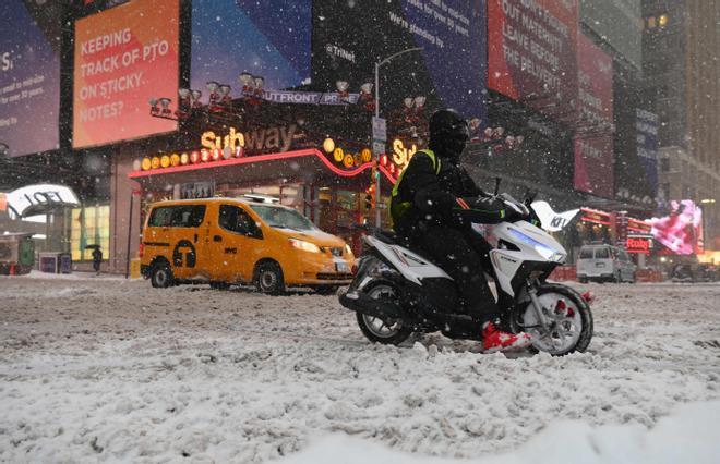 Times Square, en Nueva York, durante la nevada