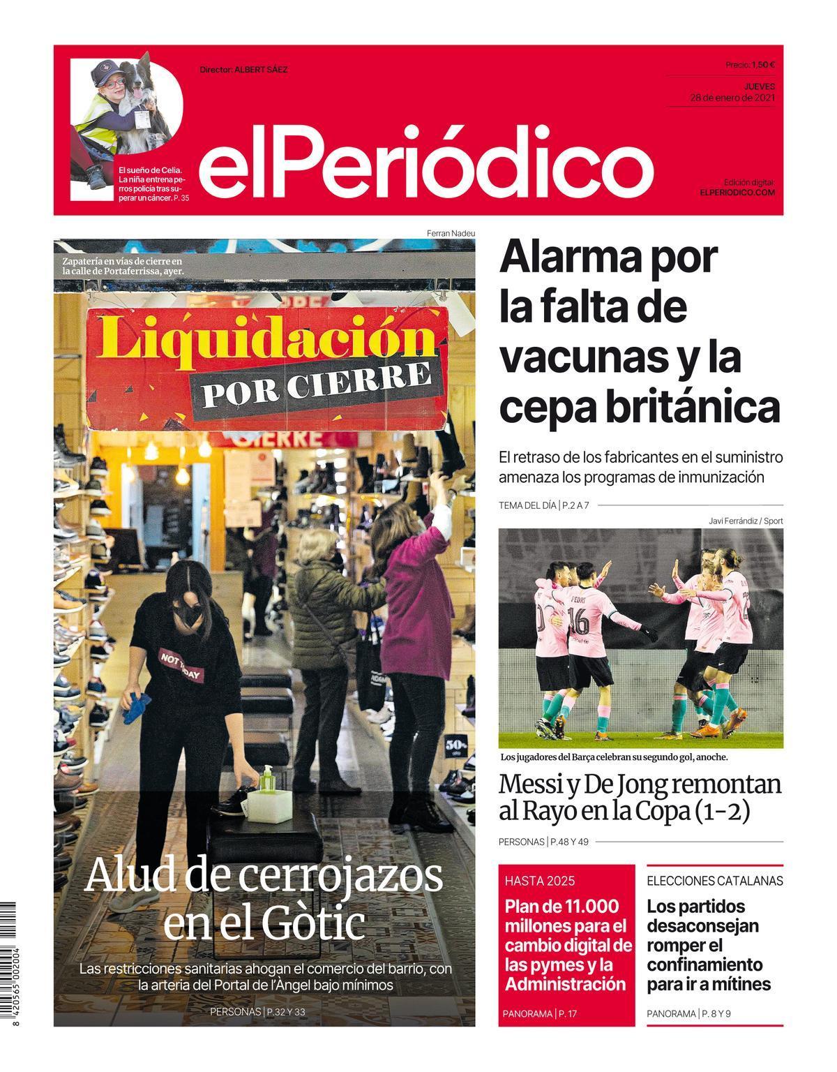 La portada d'EL PERIÓDICO del 28 de gener del 2021