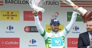 Alejandro Valverde, en el podio de Barcelona, el año pasado.