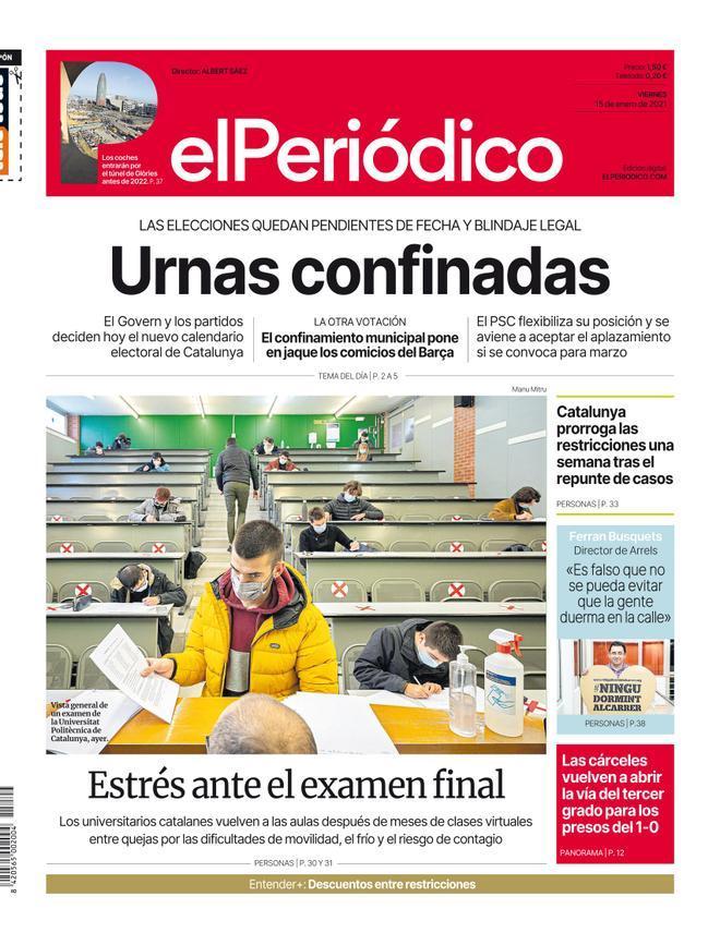 La portada de EL PERIÓDICO del 15 de enero del 2021