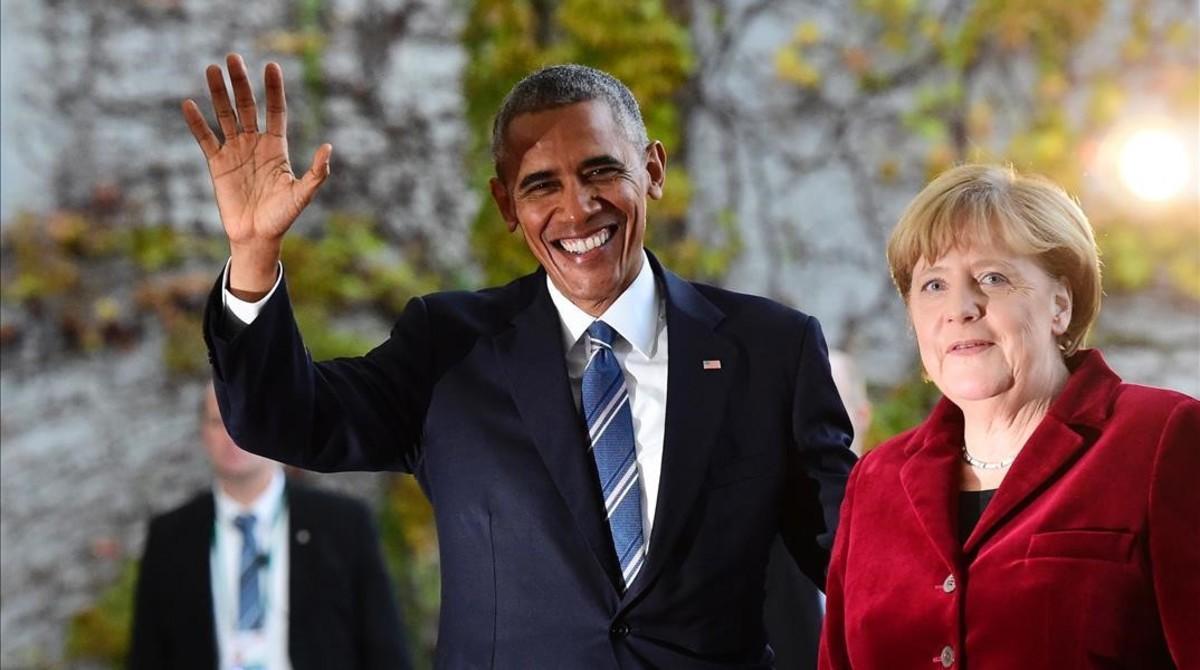 Barack Obama y Angela Merkel en Berlín.