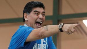 Maradona, durante un enfrentamiento entre Argentina y Croacia, en el 2018.