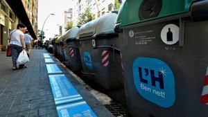 Contenedores de reciclaje de L'Hospitalet de Llobregat.