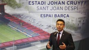 Josep Maria Bartomeu durante el acto de presentación del proyecto de construcción del Estadi Johan Cruyff en marzo del 2017.