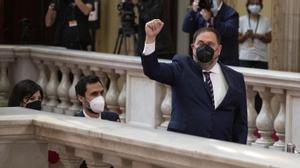 BARCELONA 21/05/2021  Política.  Pleno de investidura de Pere Aragones como nuevo president de la Generalitat En la foto Oriol Junqueras llega al Parlament Foto Ferran Nadeu