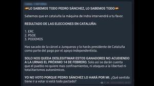 POLITICA Mensajes TELEGRAM Y TWITTER tema Vox 14-F