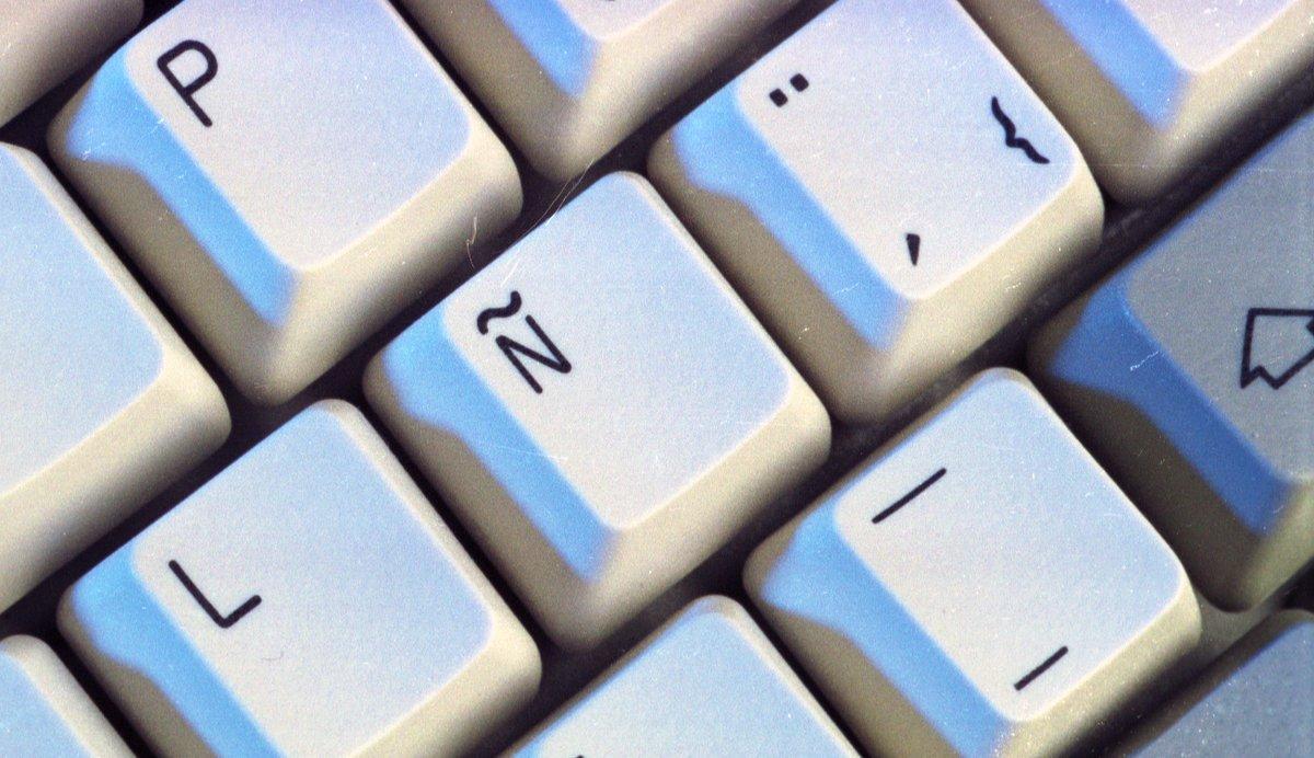 Una eñe en un teclado de ordenador.